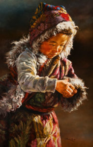 "SOLD ""Mama's Little Treasure,"" by Donna Zhang 30 x 48 – oil $7950 Unframed"