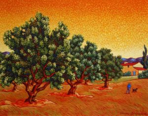 "SOLD ""A Man and His Dog in the Olive Grove,"" by Michael Stockdale 16 x 20 – acrylic $1000 Framed"