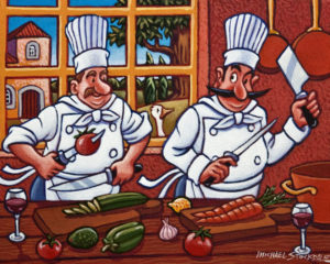 "SOLD ""Mano a Mano in the Kitchen,"" by Michael Stockdale 8 x 10 – acrylic $375 Unframed"