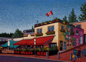 "SOLD ""Marine Drive Cafes, White Rock,"" by Michael Stockdale 9 x 12 – acrylic $420 Unframed"