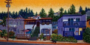 "SOLD ""Marine Drive Cottages – White Rock,"" by Michael Stockdale 12 x 24 – acrylic $720 Unframed"
