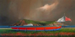 "SOLD ""Marker Sheets and Red Boat,"" by Mark Fletcher 24 x 48 – acrylic $3325 Framed"