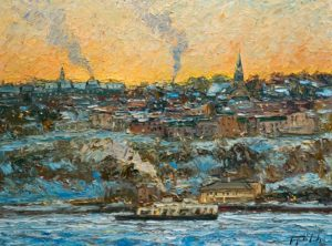 "SOLD ""Matin glacial, Lévis,"" by Raynald Leclerc (Morning Ice, Lévis) 18 x 24 – oil $2100 Unframed"