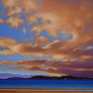 "SOLD ""May Sky,"" by Ray Ward 16 x 16 – oil $1165 Framed"