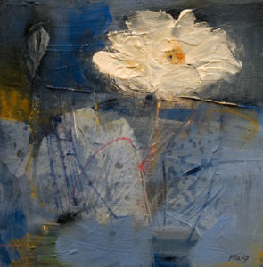 "SOLD ""Meadow Flower #2,"" by Susan Flaig 10 x 10 – acrylic with graphite $425 Unframed"