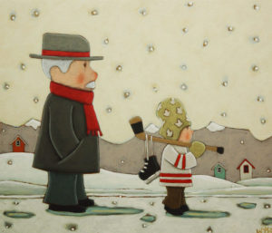 "SOLD ""Me & Grandad,"" by Peter Wyse 12 x 14 – acrylic $650 (unframed panel with 1 1/2"" wide edging)"