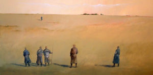 "SOLD ""The Mediator Walks,"" by Mark Fletcher 24 x 48 – acrylic $2700 Unframed"