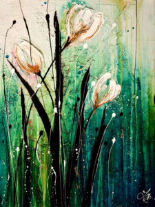 "SOLD ""Meet You in May,"" by Laura Harris 18 x 24 – acrylic $1900 (thick canvas wrap without frame)"