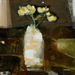 "SOLD ""Mellow Yellow,"" by Susan Flaig 12 x 12 – acrylic with graphite $485 Unframed"