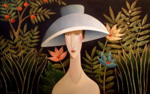 "SOLD ""Midnight in the Garden of Rousseau,"" by Danny McBride 30 x 48 – acrylic $4300 Unframed"
