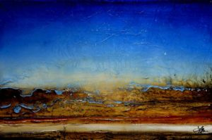 "SOLD ""Midnight Sand,"" by Laura Harris 24 x 36 – acrylic $2255 (thick canvas wrap without frame)"