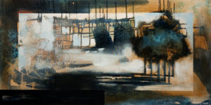 """SOLD """"Midnight Shadows,"""" by Heather Haynes 24 x 48 – acrylic $2350 (thick canvas wrap without frame)"""
