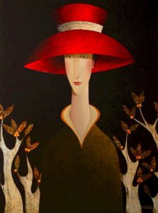 "SOLD ""Mimi and the Berry Bush,"" by Danny McBride 36 x 48 – acrylic $5200 Unframed"