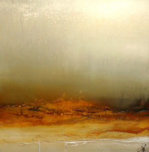 """SOLD """"The Mist and the Glow,"""" by Laura Harris 42 x 42 – acrylic $4580 (thick canvas wrap without frame)"""