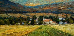 "SOLD ""les Moissons d'Août,"" by Raynald Leclerc (August Harvest) 18 x 36 – oil $2400 Unframed"