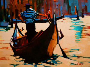"""SOLD """"A Moment in Venice,"""" by Mike Svob 12 x 16 – acrylic $1265 Unframed"""