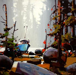 """SOLD """"A Moment in Time Along Rivers Inlet,"""" by Michael O'Toole 12 x 12 – acrylic $650 (thick canvas wrap without frame)"""