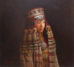 "SOLD ""Mongolian Bride,"" by Dongmin Lai 20 x 22 –  oil $7800 Framed"