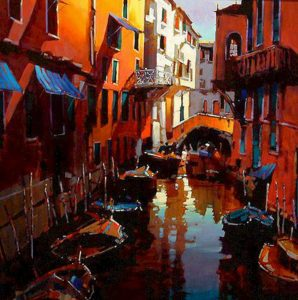 "SOLD ""The Mood of Venice,"" by Michael O'Toole 40 x 40 – acrylic $3950 Framed"