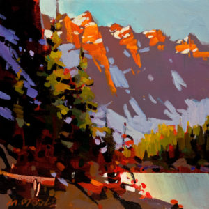 "SOLD ""Moraine Lake – Touch of Gold,"" by Michael O'Toole 10 x 10 – acrylic $640 Unframed $835 Custom framed"