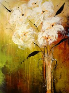 "SOLD ""Morning Dew's Kiss,"" by Laura Harris 30 x 40 – acrylic/mixed media $2835 Unframed"