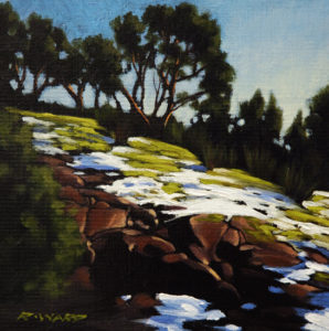 "SOLD ""Morning Melt,"" by Ray Ward 6 x 6 – oil $450 Framed"