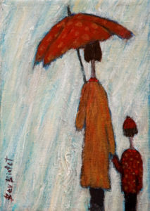 "SOLD ""Morning Shower,"" by Bev Binfet 5 x 7 - acrlylic $270 Unframed $350 in show frame"