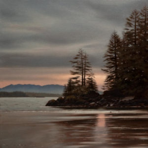 "SOLD ""Morning Sky, Pacific Rim,"" by Ray Ward 16 x 16 – oil $1260 Unframed"