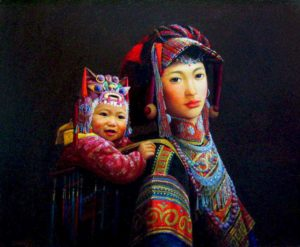 "SOLD ""Mother and Child,"" by Dongmin Lai 20 x 24 – oil $7500 Framed"