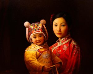 "SOLD ""Mother and Child II,"" by Dongmin Lai 22 x 28 –  oil $8000 Framed"