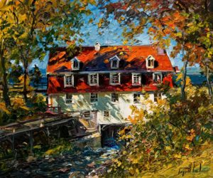 "SOLD ""Le moulin ensoleillé (Beaumont),"" by Raynald Leclerc (Sunny Mill, Beaumont) 20 x 24 – oil $2200 Unframed"