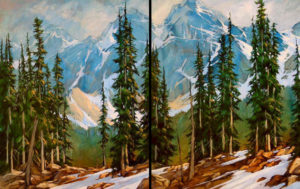 "SOLD ""Mountain Diptych I & II,"" by David Langevin 24 x 30 each – acrylic $3600 Unframed (Set of 2)"