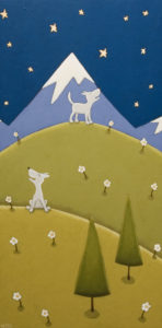 "SOLD ""Mountain Duet,"" by Peter Wyse 12 x 24 – acrylic $900 (unframed panel  with 1 1/2"" wide edging)"