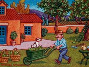 """SOLD """"Monsieur Champignon in His Orchard,"""" by Michael Stockdale 6 x 8 – acrylic $280 Unframed"""
