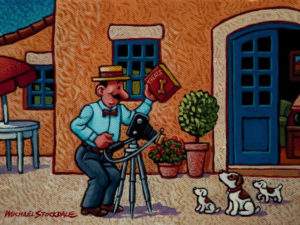 "SOLD ""Monsieur Champignon Takes a Photo,"" by Michael Stockdale 6 x 8 – acrylic $280 Unframed"