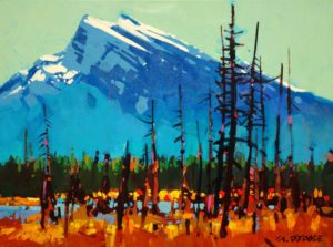 "SOLD ""Mt. Rundle,"" by Michael O'Toole 12 x 16 – acrylic $865 Framed"