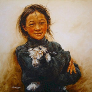 "SOLD ""My Favourite One,"" by Donna Zhang 30 x 30 – oil"