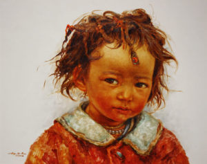 "SOLD ""My Special Bead,"" by Donna Zhang 24 x 30 – oil"