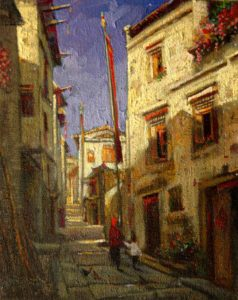 "SOLD ""Narrow Lanes in Yi Xiang, China,"" by Dongmin Lai 8 x 10 – oil $800 Framed"
