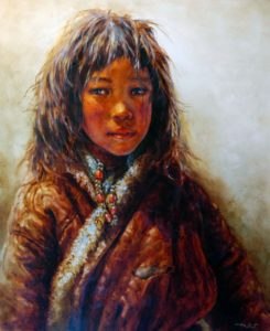 "SOLD ""Nature's Child,"" by Donna Zhang 30 x 36 – oil"