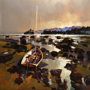 "SOLD ""Golden Hour Near Ford's Cove, Hornby Island,"" by Michael O'Toole 40 x 40 – acrylic $5350 Unframed"