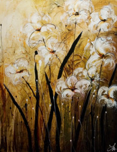 "SOLD ""Nestle and Sway,"" by Laura Harris 36 x 48 – acrylic $4880 (thick canvas wrap without frame)"
