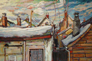 "SOLD ""A New Vista in Strathcona # 2,"" by Ed Loenen 24 x 36 – oil $2490 Framed"