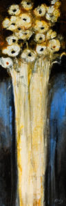 "SOLD ""The Night Flowers,"" by Susan Flaig 12 x 36 – acrylic/mixed media $930 Unframed"