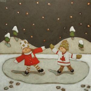 "SOLD ""Night Skating,"" by Peter Wyse 16 x 16 – acrylic $800 (unframed panel with 1 1/2"" wide edging)"