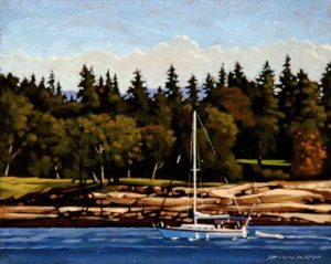 "SOLD ""Northbound,"" by Ray Ward 8 x 10 – oil $650 Framed"