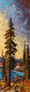 "SOLD ""North End of the Lake (Okanagan),"" by Rod Charlesworth 12 x 36 – oil $2085 Unframed"