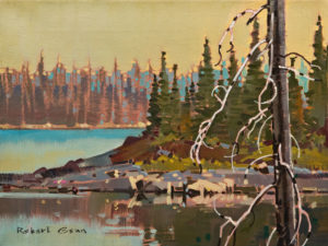 "SOLD ""North Tip, David's Island, NWT,"" (1980) by Robert Genn 12 x 16 – acrylic $3900 Unframed"