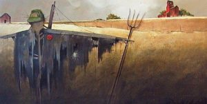 "SOLD ""November Scarecrow,"" by Mark Fletcher 30 x 60 – acrylic $3500 Unframed"