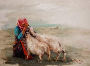 "SOLD ""Nuzzling,"" by Donna Zhang 9 x 12 – oil $1075 Framed"